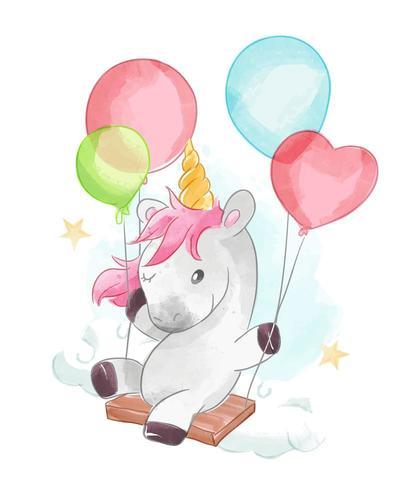 unicorno e palloncini oscillano vettore