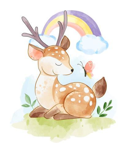 cervo seduto con farfalla e arcobaleno vettore