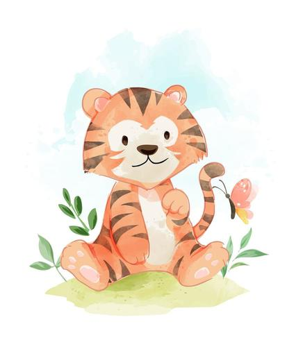 tigre in campo con farfalla vettore