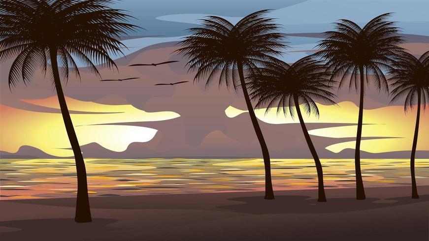 Illustrazione della spiaggia, mare, cielo al tramonto Con alberi di cocco e uccelli che volano vettore