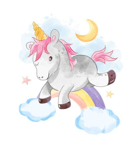 unicorno salta sopra l'arcobaleno vettore