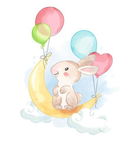Coniglio sulla luna vettore