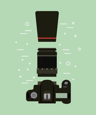 attrezzatura per fotocamera e obiettivo vettore