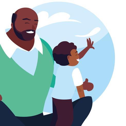 padre e figlio con motivo di nuvole di cielo vettore