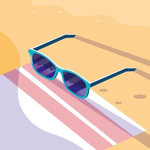 Occhiali sopra l'asciugamano nel design spiaggia vettore
