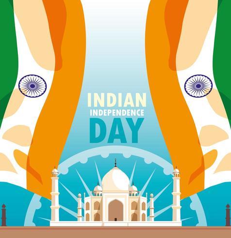 poster di festa dell'indipendenza indiana con bandiera e taj majal moschea vettore