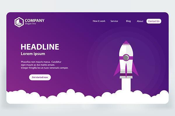 Potenzia il concetto di progetto del modello di vettore della pagina di destinazione del sito Web di affari