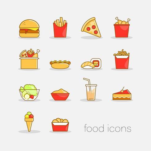 Set di icone colorate fast food stile doodle disegnato a mano vettore