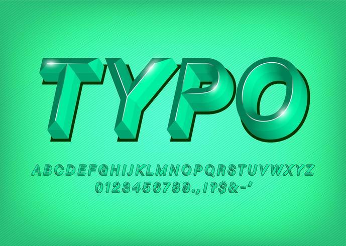 Titolo verde di effetto del testo di carattere tipografico di alfabeto 3d vettore