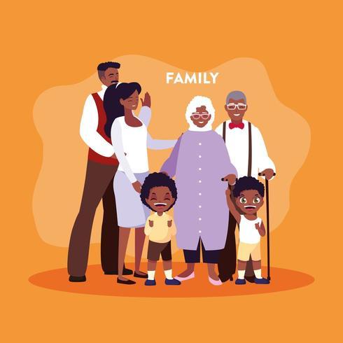 membri della famiglia in poster vettore