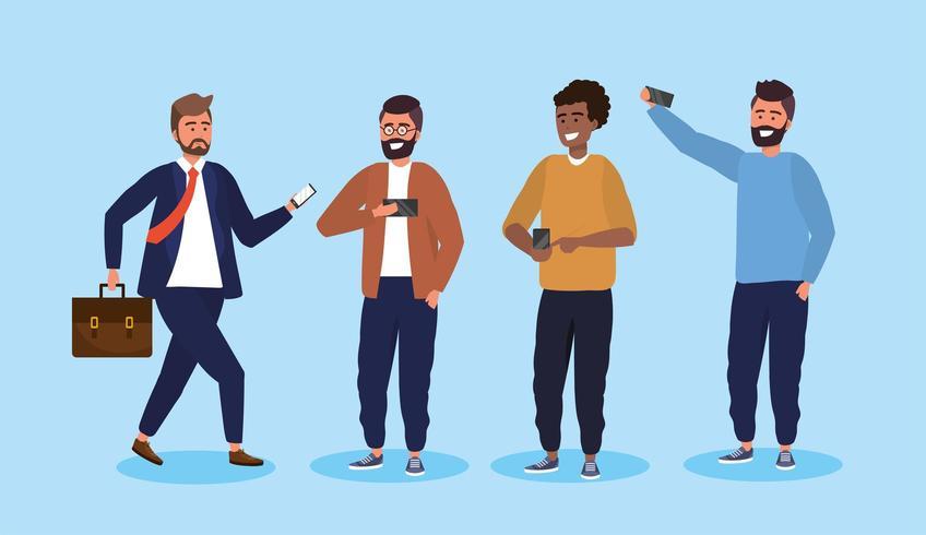 impostare uomini con tecnologia smartphone e acconciatura vettore