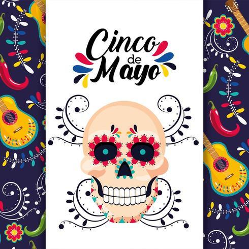 carta messicana con decorazione tradizionale teschio vettore