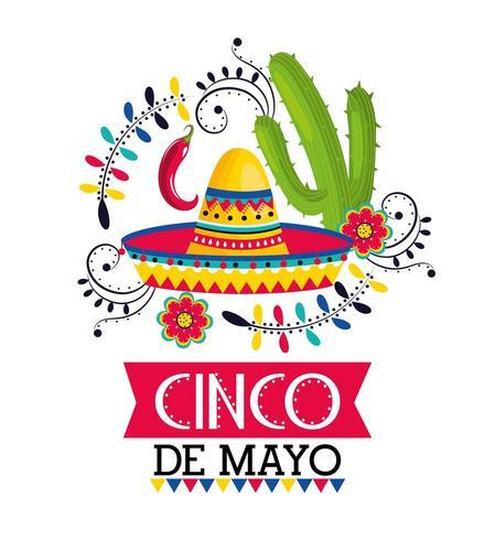 cappello messicano con peperoncino e cactus all'evento vettore