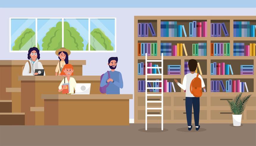 studenti nella biblioteca universitaria con libri di istruzione vettore