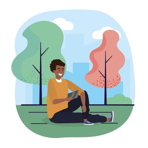 posti a sedere uomo divertente con smartphone e alberi vettore
