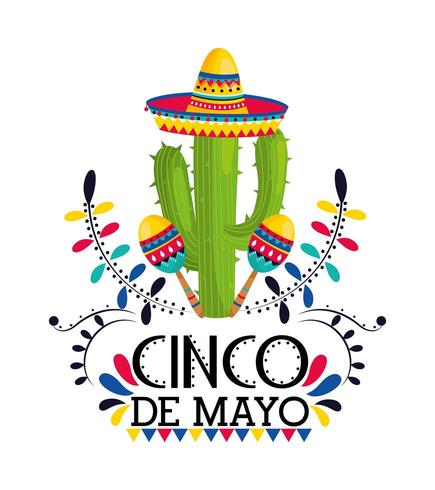 pianta di cactus con cappello e maracas all'evento vettore