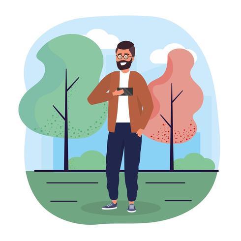 uomo divertente con lo smartphone con abiti casual vettore