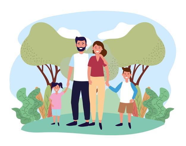 coppia donna e uomo con il figlio e la figlia vettore