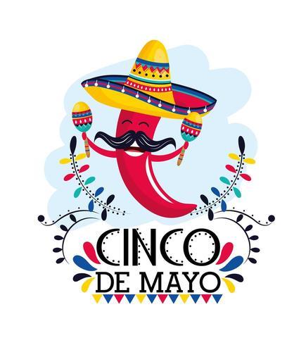 peperoncino con maracas e cappello all'evento messicano vettore