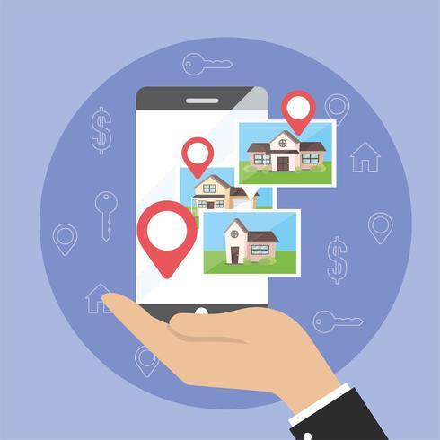 uomo d'affari con posizione sulla mappa dello smartphone e case di proprietà vettore