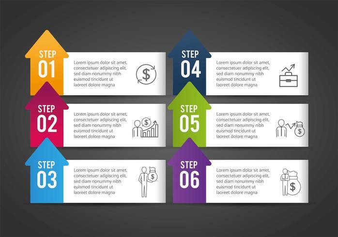 progresso della strategia infografica e successo aziendale vettore