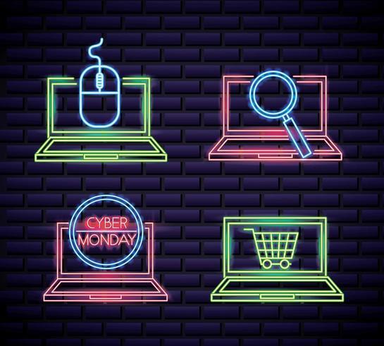 set neon negozio cyber lunedì vettore