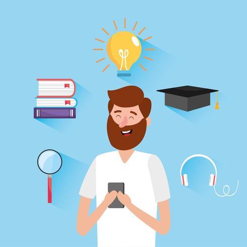 uomo con libri di istruzione e tecnologia smartphone vettore