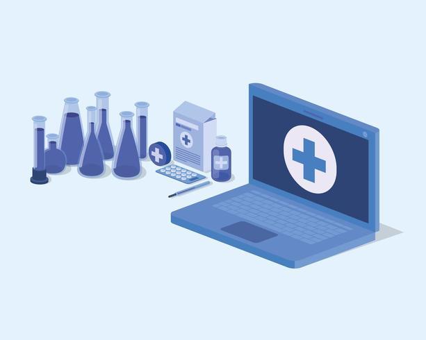 servizio di telemedicina per laptop con provette vettore