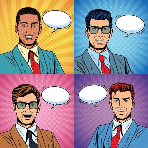 Set di uomini d'affari pop art vettore