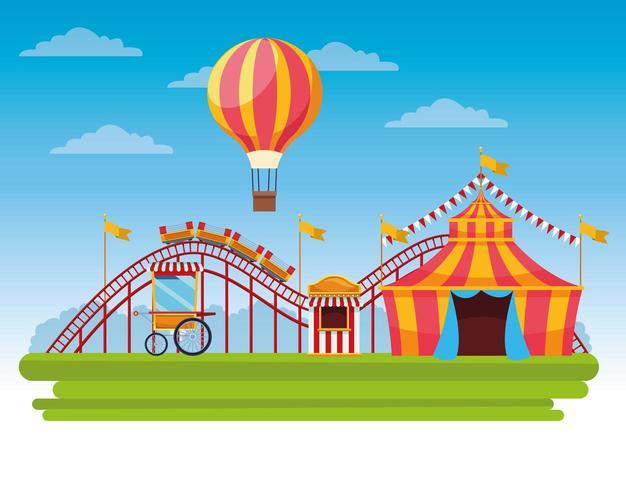 Fumetto del paesaggio di festival fiera del circo vettore