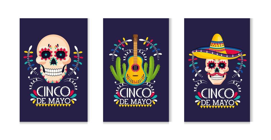 impostare le tradizionali carte messicane all'evento festivo vettore