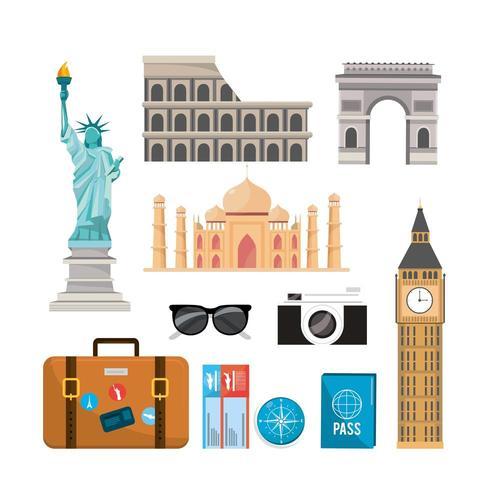 impostare la destinazione di ricreazione di viaggio internazionale vettore