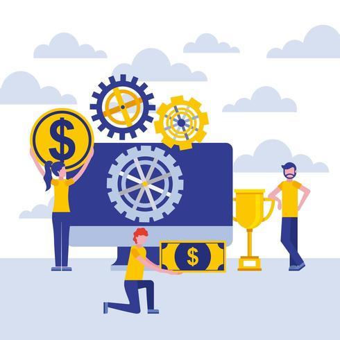 uomini d'affari con monitor, ingranaggi e denaro vettore