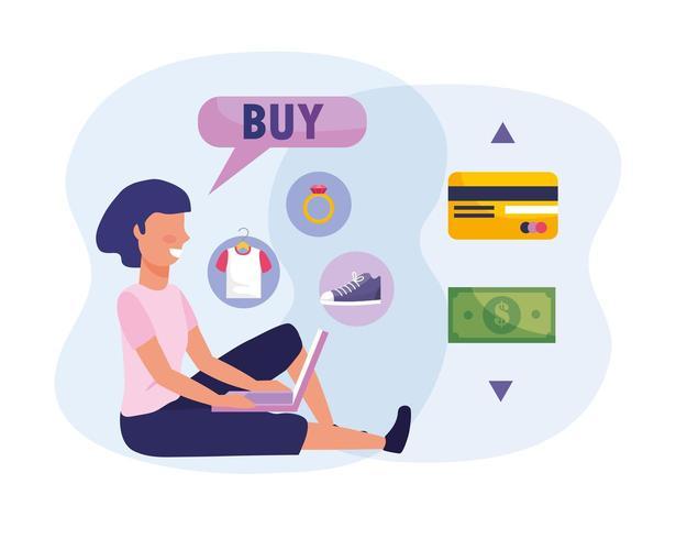 donna con tecnologia laptop e shopping online vettore