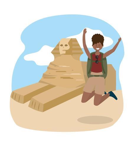 la donna che salta con lo zaino per egiziare l'avventura della scultura vettore