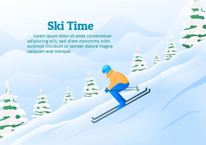 Attività di sport invernali, Un uomo che scia in montagna. vettore