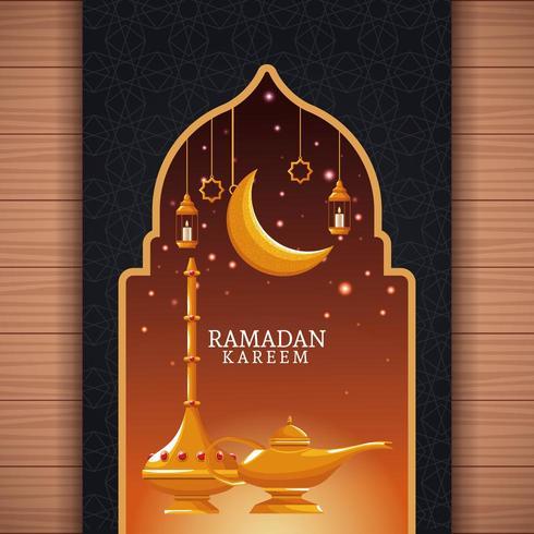 Ramadan Kareem con luna calante e arte islamica vettore