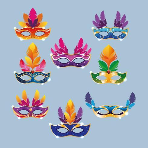 Set di maschere Mardi Gras vettore