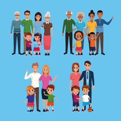 Famiglia set di cartoni animati collezione vettore