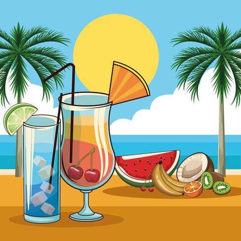 cocktail e bevande tropicali vettore
