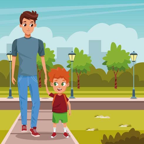 padre e figlio che camminano fino al primo giorno di lezione vettore