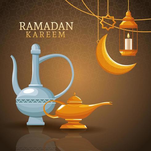 Ramadan Kareem con luna, lanterne e arte islamica vettore
