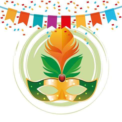 Maschera Mardi Gras in icona rotonda con gagliardetti e coriandoli vettore