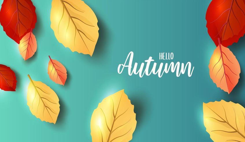 Ciao autunno intestazione pubblicitaria o banner design vettore