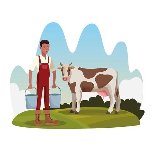 L'agricoltore con la mucca e due secchi coltiva il paesaggio rurale vettore