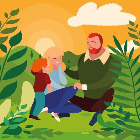 genitori con la famiglia del figlio nel paesaggio di giorno vettore