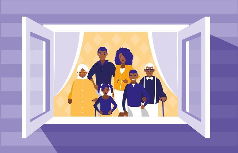 membri della famiglia neri nella finestra vettore