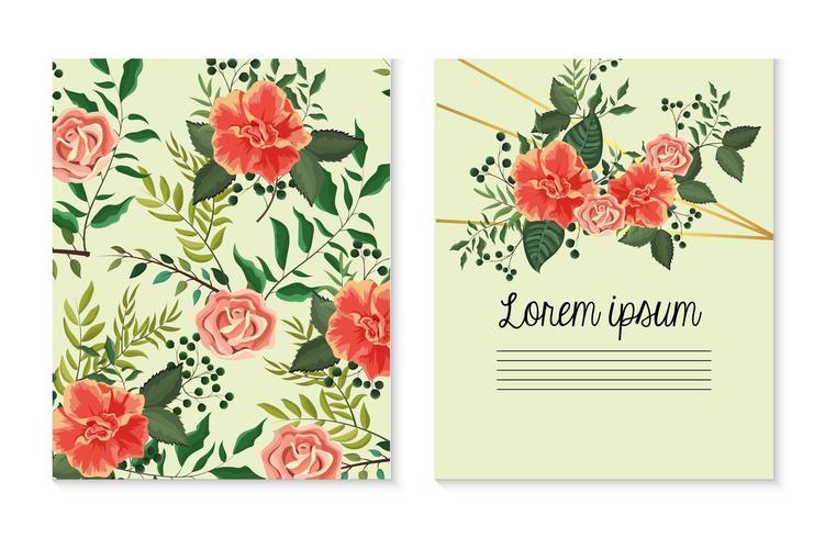 impostare la carta con rose piante con foglie vettore