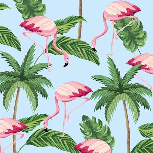 Fenicotteri tropicali e modello di palme vettore