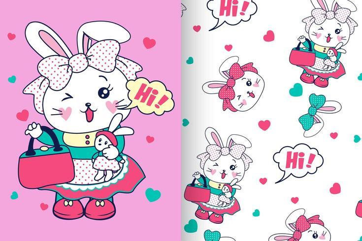 Coniglietto carino disegnato a mano con set di pattern vettore